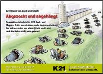 """S21Bilanz von Land und Stadt: """"Abgezockt und abgehängt"""". Das Aktionsbündnis für K21 deckt auf: Mappus & Co. verschleiern reale Kostenaufteilung. Per saldo zahlen vor allem Stadt und Land,  und die Bahn stößt sich gesund! Wer zahlt wie viel für S 21? Die analyse der Geldflüsse. (PDF-Datei mit 16 Seiten, auch auf Papier erhältlich)"""
