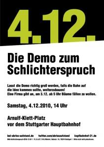 Flyer: Die Demo zum Schlichterspruch (04.12.2010)