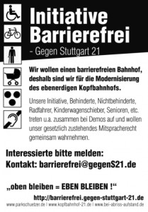 Initiative Barriere-Frei, Flugblatt (Flyer) Vorderseite, Nr. 4