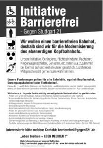 Initiative Barriere-FREI - Gegen Stuttgart 21 | Flugblatt als DIN A3-Plakat (Version 4) in PDF-Datei