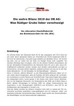 Die wahre Bilanz 2010 der DB AG: Was Rüdiger Grube lieber verschweigt - Der alternative Geschäftsbericht des Bündnisses Bahn für Alle (BfA)
