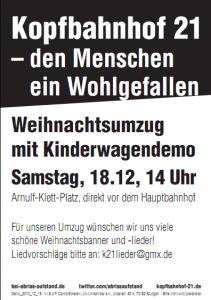 """18.12.: Weihnachtsumzug ab 14 Uhr, Motto """"Kopfbahnhof 21 – den Menschen ein Wohlgefallen"""""""