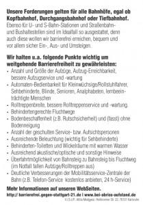 Initiative Barriere-FREI, Flugblatt Nr. 4, Rückseite