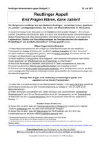 Reutlinger Appell an Nils Schmid vom 'Reutlinger Aktionsbündnis gegen Stuttgart 21'  (25.07.2011)