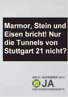 Marmor, Stein und Eisenbricht! Nur die Tunnels von Stuttgart 21 nicht?