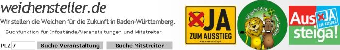 wichensteller-de: Wir stellen die Wichen für die Zukunft in Baden-Württember/Suchfunktion für Infostände/Veranstaltungen und Mitstreiter